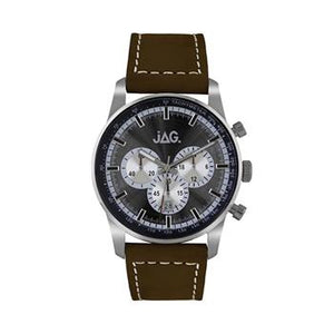 Jag Chris Blck Dial Silv 44Mm Brown Str