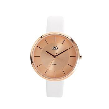 Jag Leah Rose Gold Dial White Strap Watch