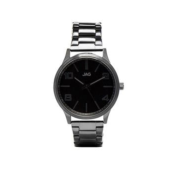 Jag Mitchell Black Dial, Black Leather Watch