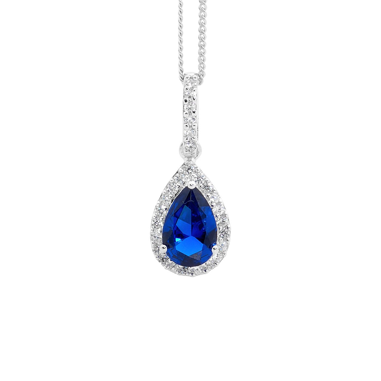 Ellani SS Dark Blue CZ Pear Drop Pendant with WH CZ surround