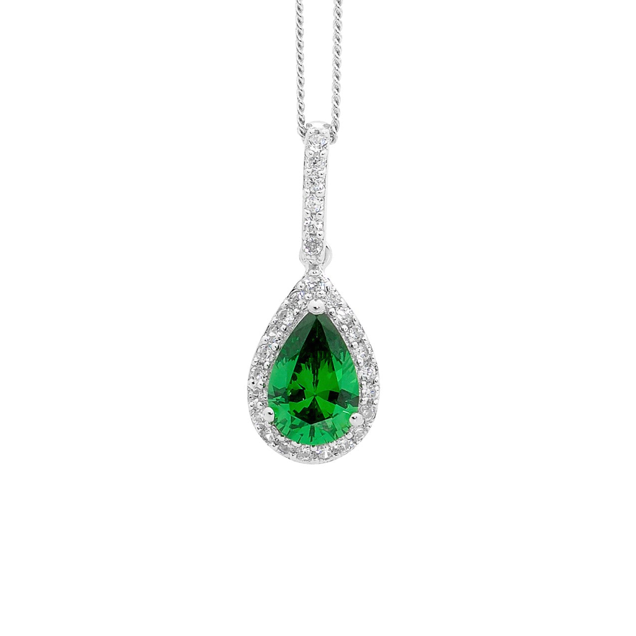 Ellani SS Green CZ Pear Drop Pendant with WH CZ surround