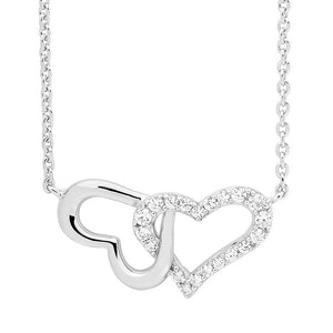 Ellani SS WH CZ Double Heart Linked Pendant with attch Chain
