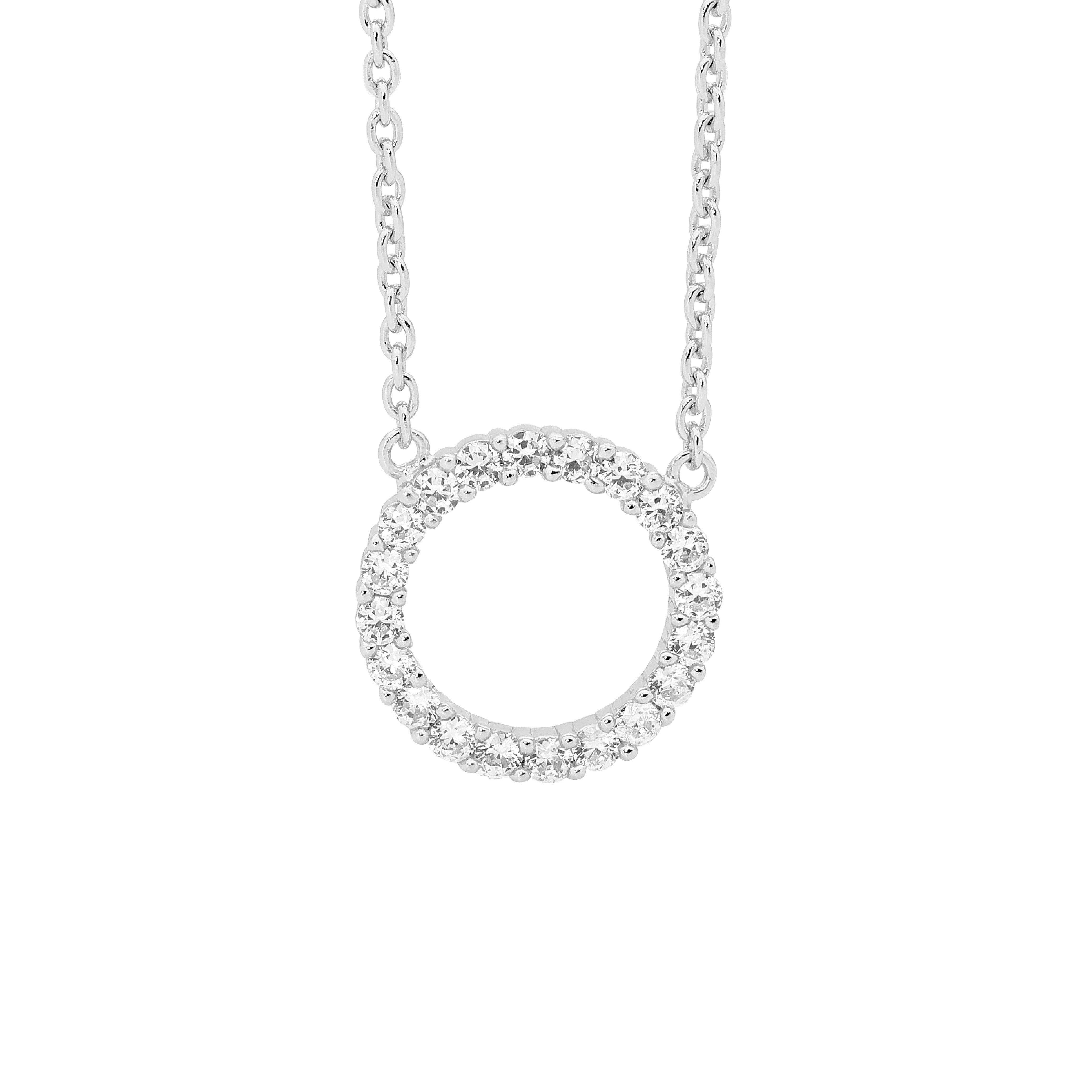 Ellani SS 20mm Circle WH CZ Pendant with Attached Chain