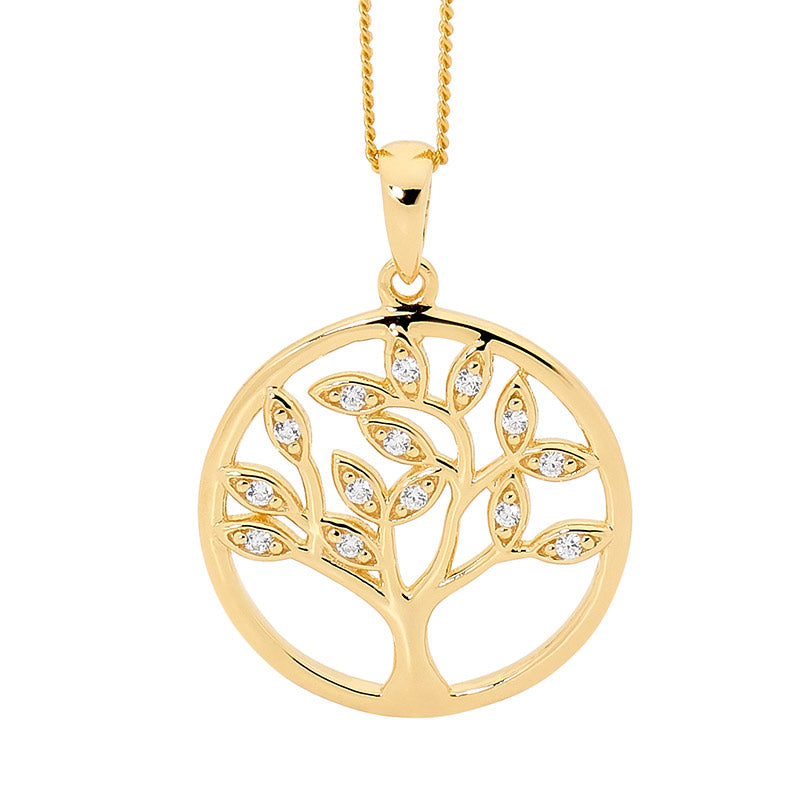 Ellani SS WH CZ Tree of Life Pendant with Gold Plating