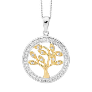Ellani SS WH CZ Tree of Life Pendant with CZ Surround & Gold Plating