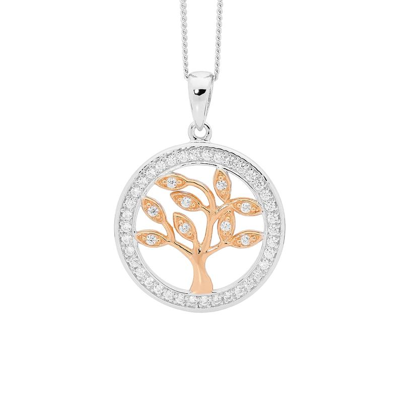 Ellani SS WH CZ Tree of Life Pendant with CZ Surround & Rose Gold Plating
