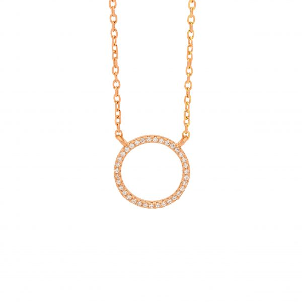 Ellani SS WH CZ 10mm Open Circle Necklace with Rose Gold Plating