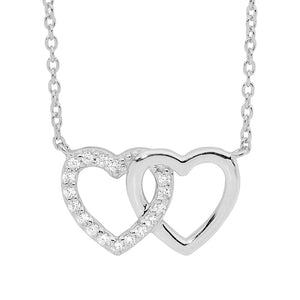 Ellani SS WH CZ Double Linked Heart, attached chain