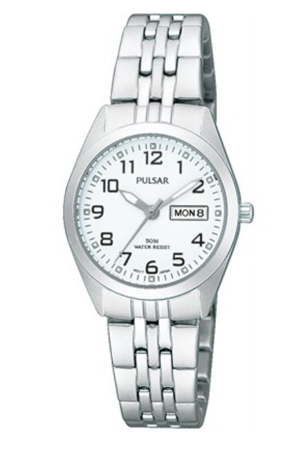 Ladies Pulsar Stainless Steel Day/Date Watch