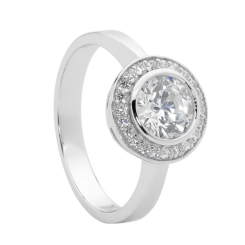 Ellani SS Round WH CZ Sol. with WH CZ Claw Surround Ring