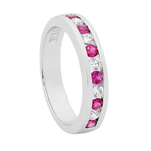 Ellani SS Red & WH Round CZ Channel Set Ring