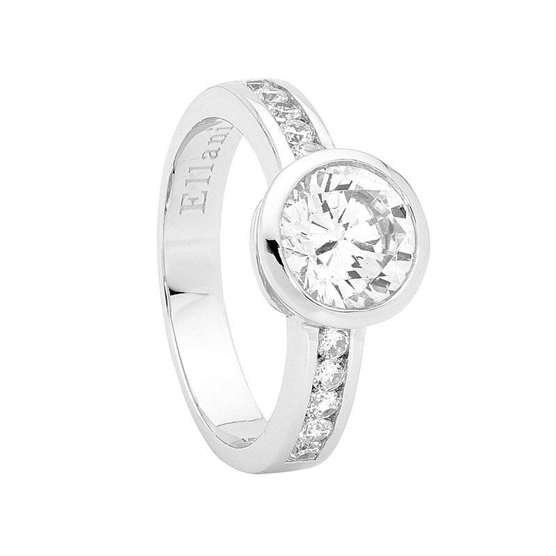 Ellani SS  WH CZ Bezel Solitaire with WH CZ Channel Set Band