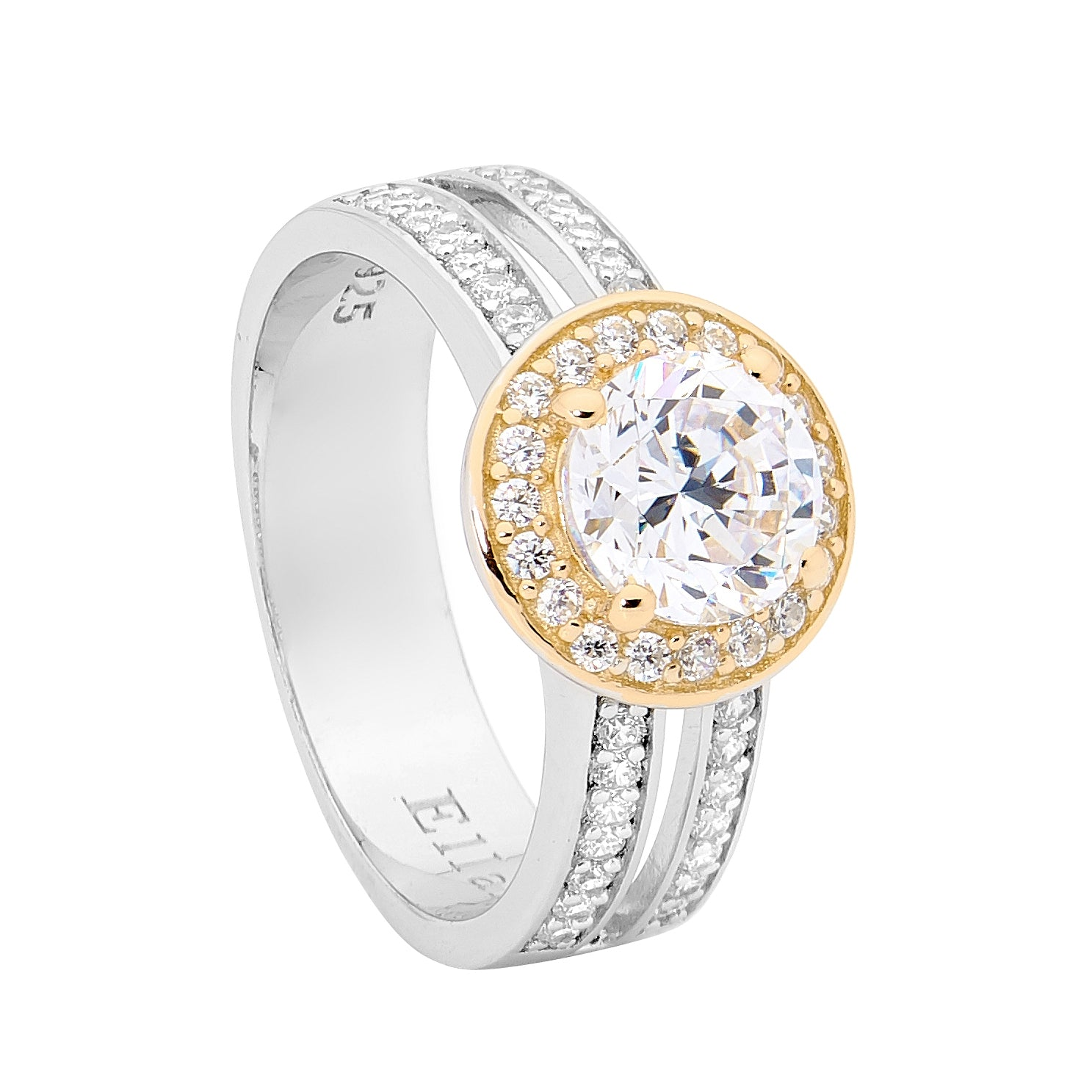 Ellani SS WH CZ Solitaire with Halo & Gold Plating Dbl Band Ring