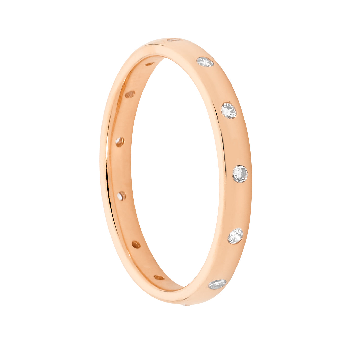 Ellani SS WH CZ Hammer Set Eternity Ring with Rose Gold Plating