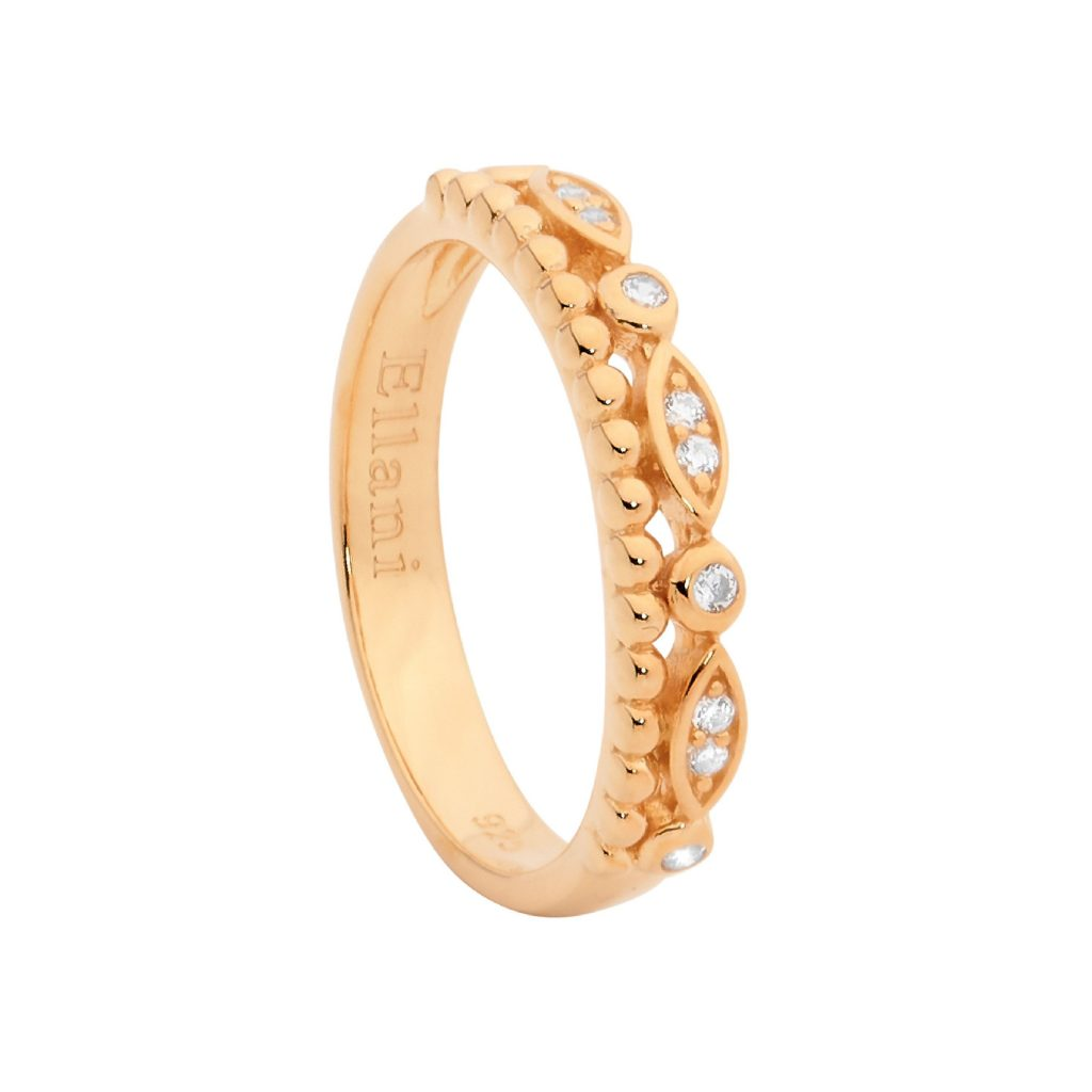 Ellani SS Double Row Ring, WH CZ & Bubble Band with Rose Gold Plating