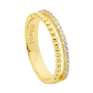 Ellani SS WH CZ & Bubble Split Band Ring with Gold Plating