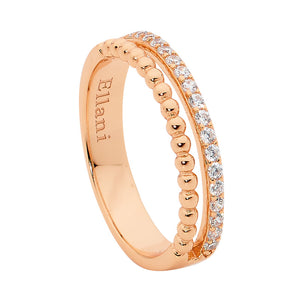 Ellani SS WH CZ & Bubble Split Band Ring with Rose Gold Plating