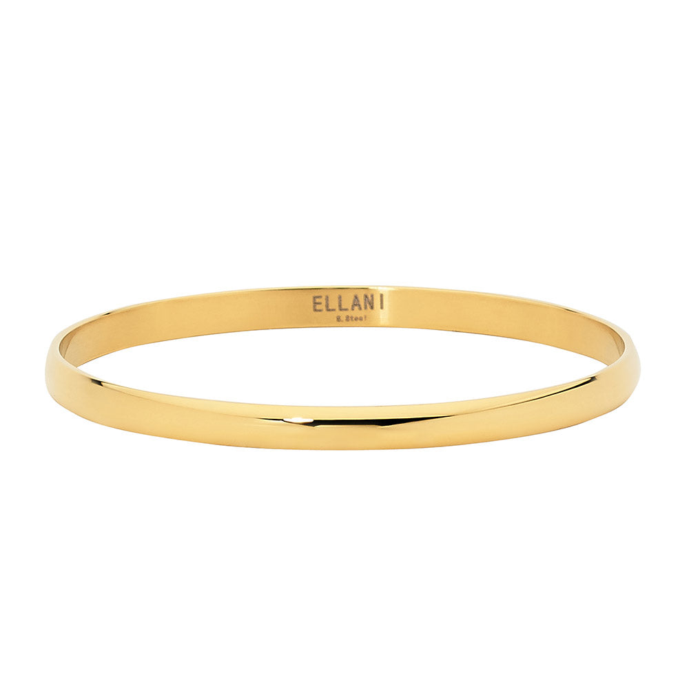 Ellani Stainless Steel Gold IP Plating 5mm Bangle