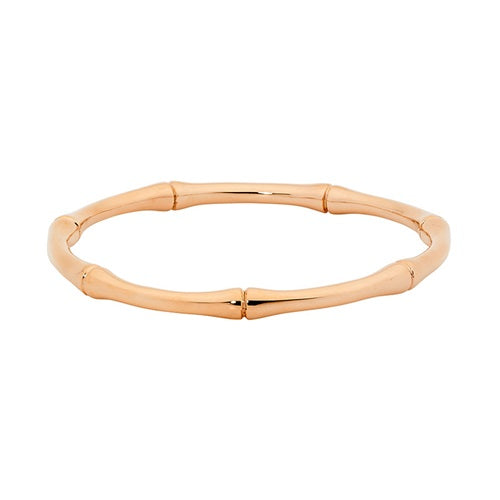 Ellani Stainless Steel Bamboo Bangle with Rose Gold IP Plating