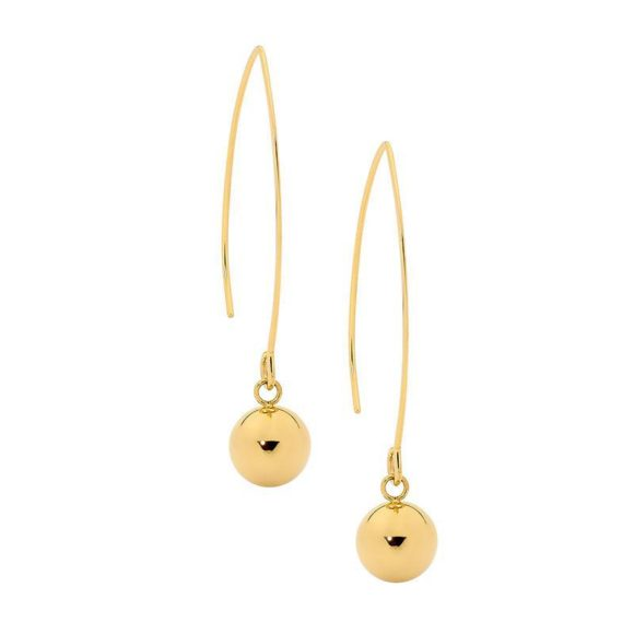 Ellani Stainless Steel Long Drop Earrings with 10mm Ball & Gold IP Plating
