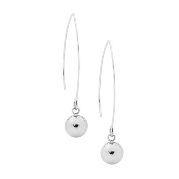 Ellani Stainless Steel Long Drop Earrings with 10mm Ball
