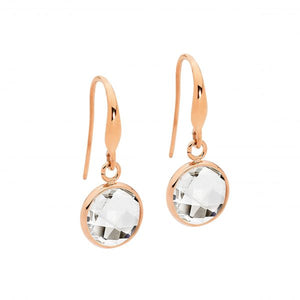 Ellani Stainless Steel earrings with Rnd Clear Glass drop & Rose Gold IP Plating