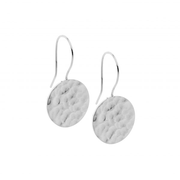Ellani Stainless Steel Hammered Effect Circle Drop Earrings
