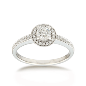 18ct Brilliant-cut 0.52ct TDW Diamond Shoulder Solitaire