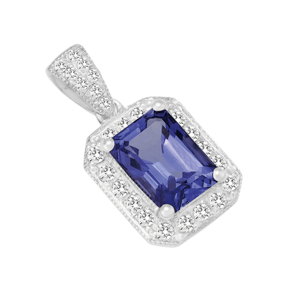 18ct Gold Emerald Tanzanite Pendant