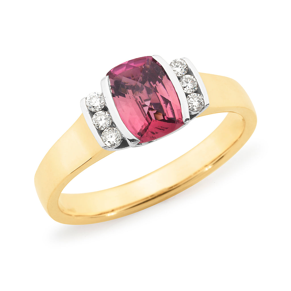 MMJ - Pink Tourmaline & Diamond End Set Dress Ring