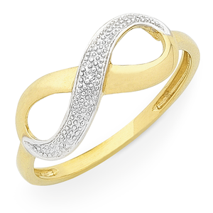 9ct Gold Diamond Infinity Ring