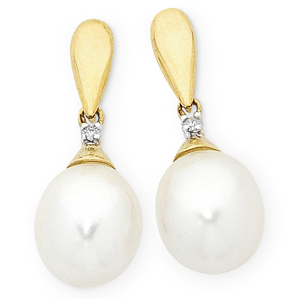 9ct Gold Freshwater Pearl & Diamond  Earrings