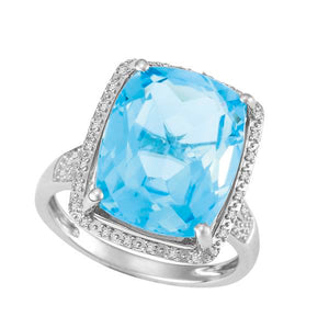 9ct White Gold Cushion Blue Topaz and Round Brilliant-cut Diamond Ring
