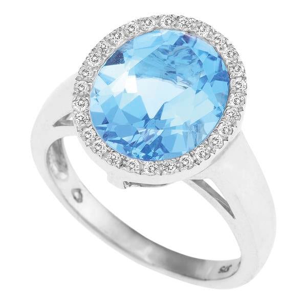 9ct White Gold Oval Blue Topaz and  Round Brilliant-cut Diamond Ring