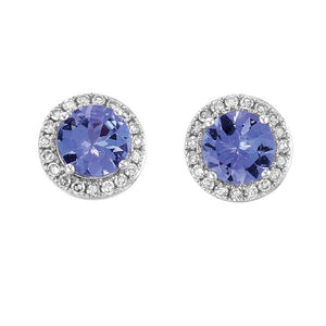 9ct White Gold Round Tanzanite and Round Brilliant-cut Diamond Earrings