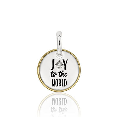 CANDID SS 2TY 12mm plain square frame 'joy to the world' with cubic zirconia
