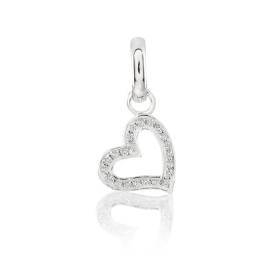 CANDID SS open heart charm with cubic zirconia