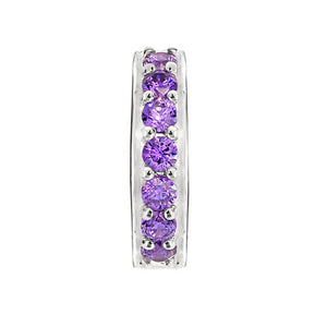 CANDID SS stopper with purple cubic zirconia