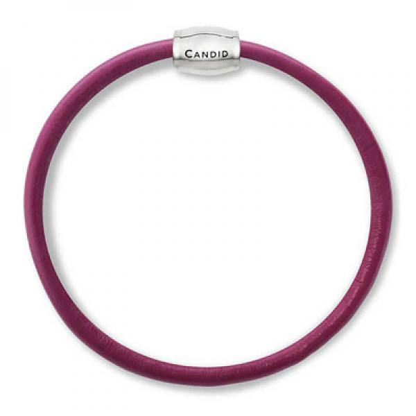 CANDID single strand raspberry nap leather bracelet with SS & magnetic clasp 19cm