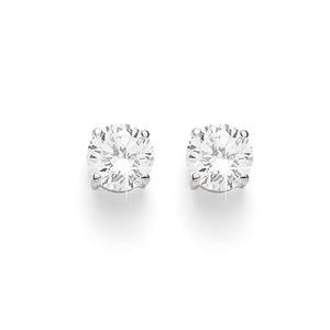 Sterling Silver 6mm Round 4 Claw Set Cubic Zirconia (CZ) Studs