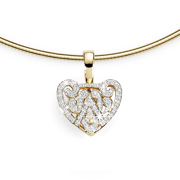 9ct 0.15ct Diamond Set Filigree Heart Enhancer Pendant