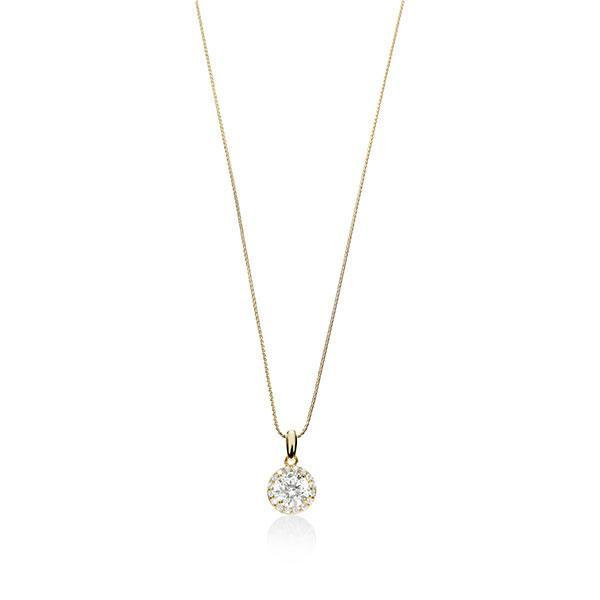 9ct Claw Set Cubic Zirconia Set With Pave Surround Pendant