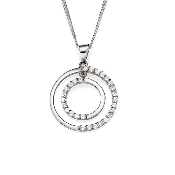 Sterling Silver Double Circle Cubic Zirconia Pendant