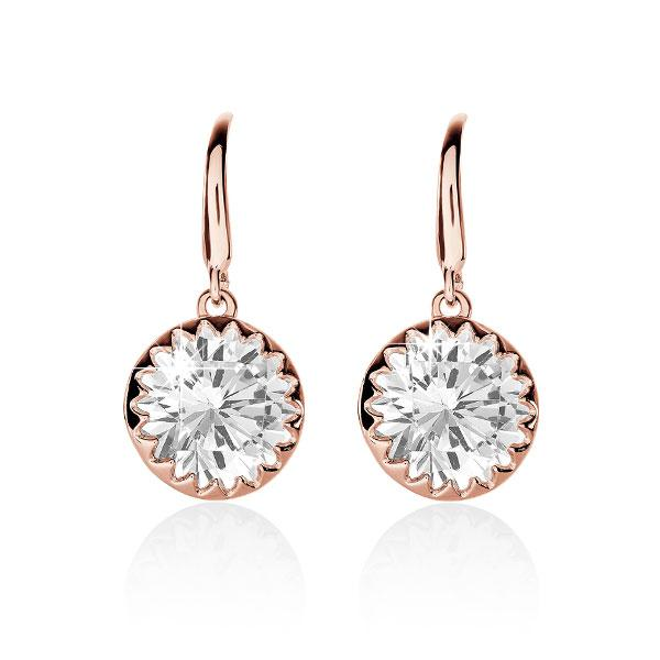 Sterling Silver Rose Gold Plated Scallop Set Cubic Zirconia Shepherd Hook Earrings