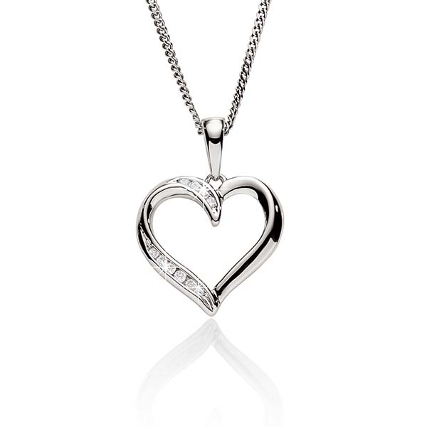 9ct White Gold 0.03ct Channel Set Diamond Open Heart Pendant