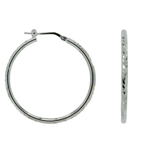 Sterling Silver 30mm Round Tube With Dia Cut Top Hoop Earrings