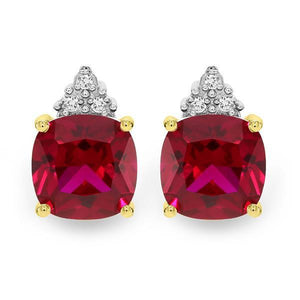 Yellow Gold Claw Set Cushion Cut Created Ruby & Diamond Stud Earrings