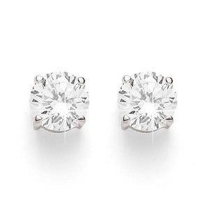 9ct White Gold 4 Claw Diamond Studs (Tdw = 0.50ct Owlb)