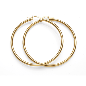 9ct Gold 40mm Diameter 2mm Wide Polished Hoops