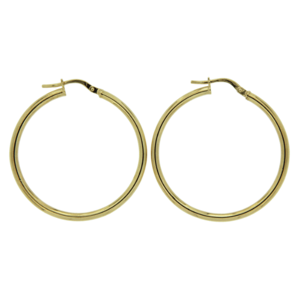9ct Yellow Gold 30mm Diameter 2mm Wide Polished Hoop Earrings